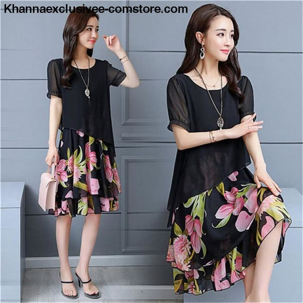 New Womens Chiffon Short Sleeve O-Neck Floral Print Elegant Party Dress Till Plus Size 5XL - ZF0512black / 5XL / United States - New Womens