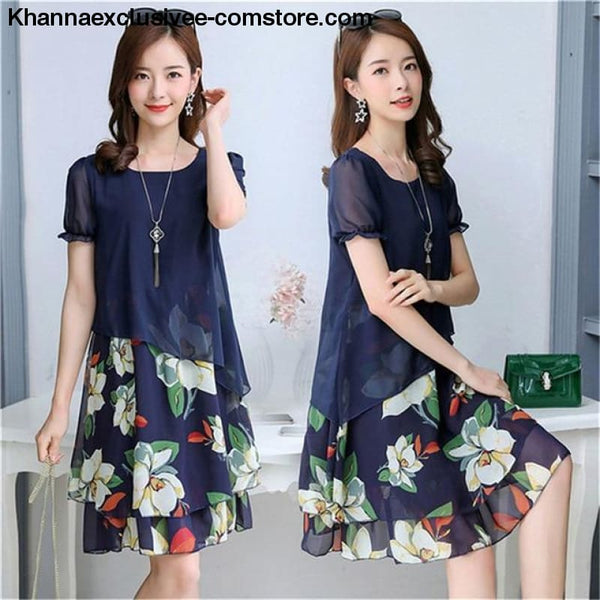 New Womens Chiffon Short Sleeve O-Neck Floral Print Elegant Party Dress Till Plus Size 5XL - ZF0512blue / M / United States - New Womens