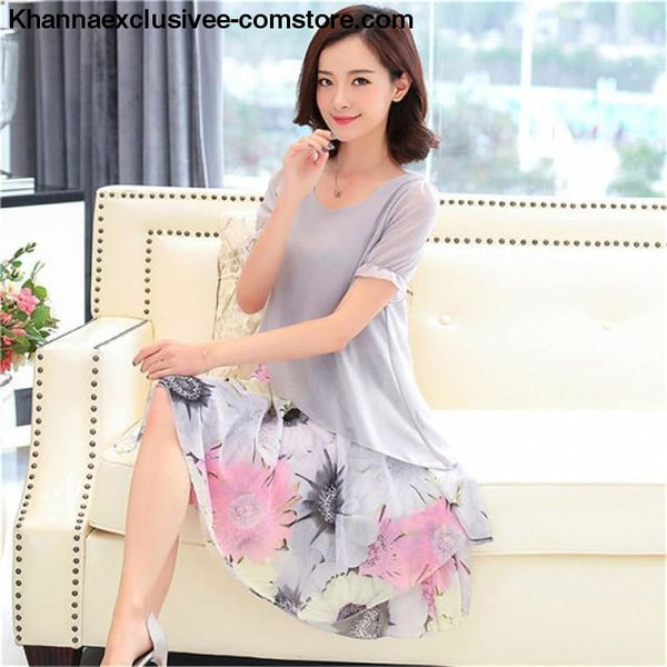 New Womens Chiffon Short Sleeve O-Neck Floral Print Elegant Party Dress Till Plus Size 5XL - ZF0512grey / 5XL / United States - New Womens