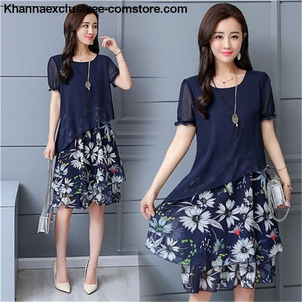 New Womens Chiffon Short Sleeve O-Neck Floral Print Elegant Party Dress Till Plus Size 5XL - ZF0512navy / XL / United States - New Womens