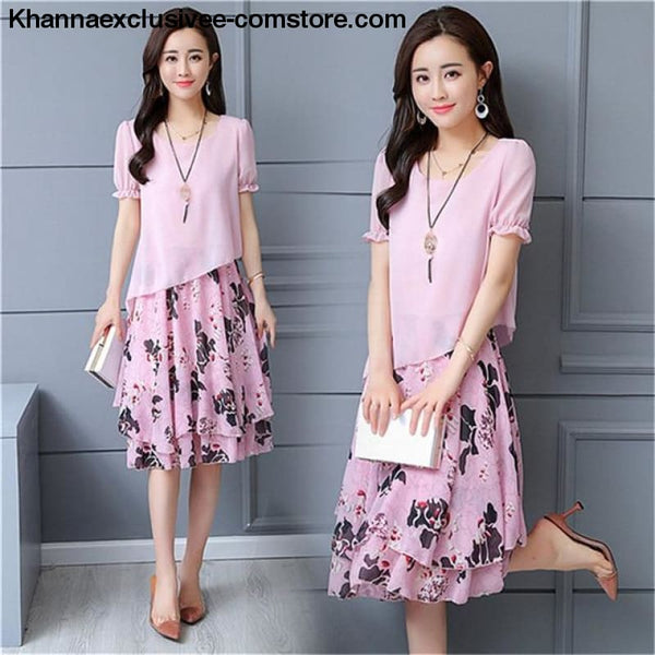 New Womens Chiffon Short Sleeve O-Neck Floral Print Elegant Party Dress Till Plus Size 5XL - ZF0512pink / XXL / United States - New Womens