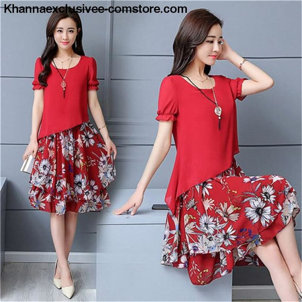 New Womens Chiffon Short Sleeve O-Neck Floral Print Elegant Party Dress Till Plus Size 5XL - ZF0512red / XXXL / United States - New Womens