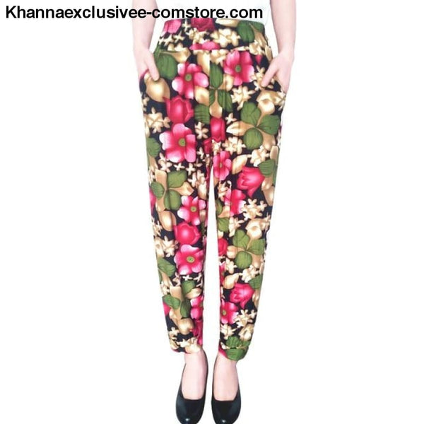 New Womens Elegant Trousers Pants Floral Printed Elastic Waist Thin Pencil Pants - 4 / One Size - New Womens Elegant Trousers Pants Floral