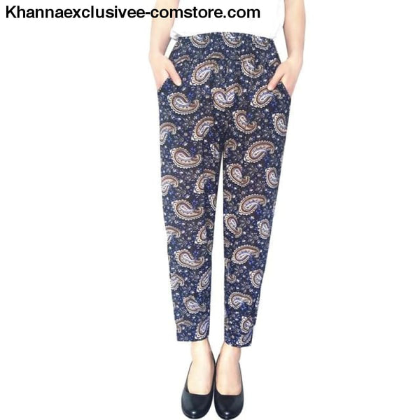New Womens Elegant Trousers Pants Floral Printed Elastic Waist Thin Pencil Pants - 6 / One Size - New Womens Elegant Trousers Pants Floral