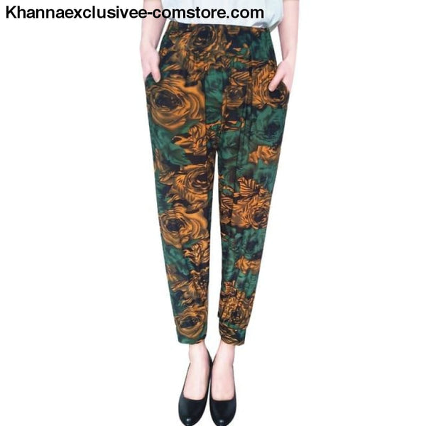 New Womens Elegant Trousers Pants Floral Printed Elastic Waist Thin Pencil Pants - 8 / One Size - New Womens Elegant Trousers Pants Floral