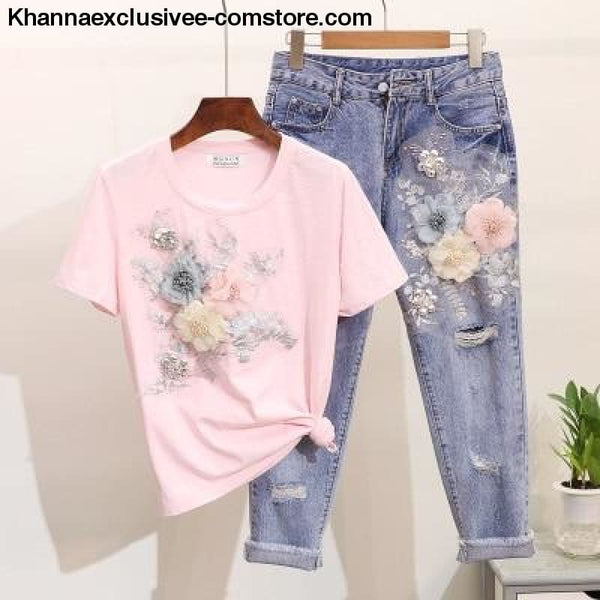 New Womens Embroidery 3D Flower O-neck Short Sleeve T shirt + Half Pant 2 piece Set - New Womens Embroidery 3D Flower O-neck Short Sleeve T