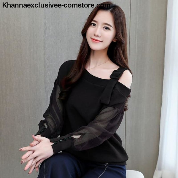 New womens fashionable blouse off shoulder top long sleeve Hot selling shirt - Black / L - New womens fashionable blouse off shoulder top