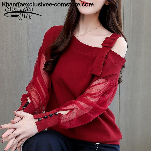 New womens fashionable blouse off shoulder top long sleeve Hot selling shirt - New womens fashionable blouse off shoulder top long sleeve