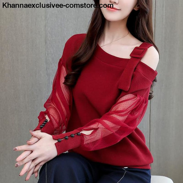 New womens fashionable blouse off shoulder top long sleeve Hot selling shirt - Red / L - New womens fashionable blouse off shoulder top long