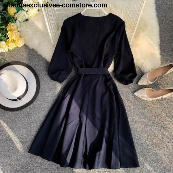 New Womens Fashionable V Collar Half Sleeve Single Breasted High Waist Casual Dress - Dark blue / One Size - New Womens Fashionable V Collar