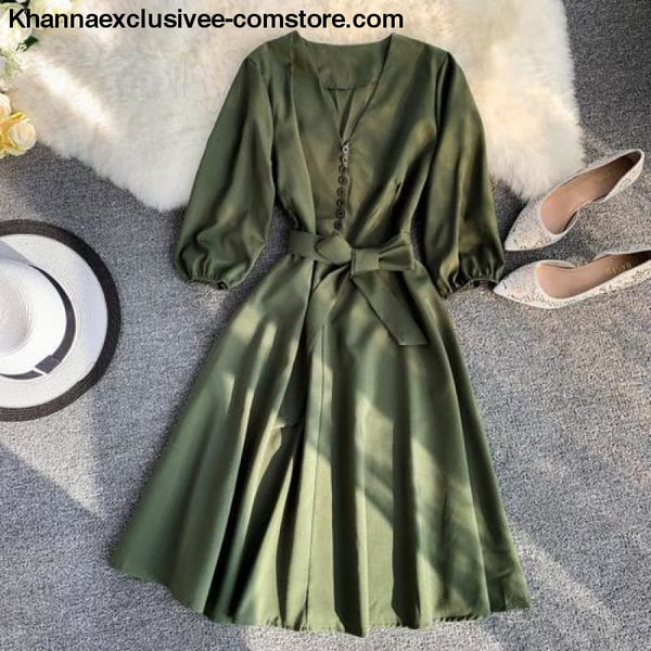 New Womens Fashionable V Collar Half Sleeve Single Breasted High Waist Casual Dress - Green / One Size - New Womens Fashionable V Collar