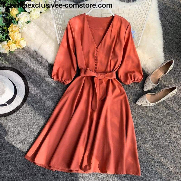 New Womens Fashionable V Collar Half Sleeve Single Breasted High Waist Casual Dress - New Womens Fashionable V Collar Half Sleeve Single