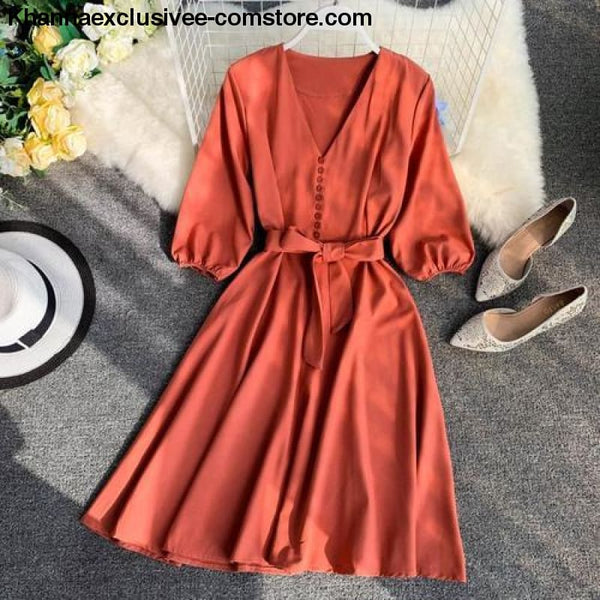 New Womens Fashionable V Collar Half Sleeve Single Breasted High Waist Casual Dress - orange / One Size - New Womens Fashionable V Collar