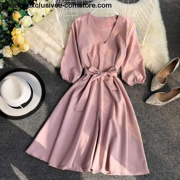 New Womens Fashionable V Collar Half Sleeve Single Breasted High Waist Casual Dress - Pink / One Size - New Womens Fashionable V Collar Half