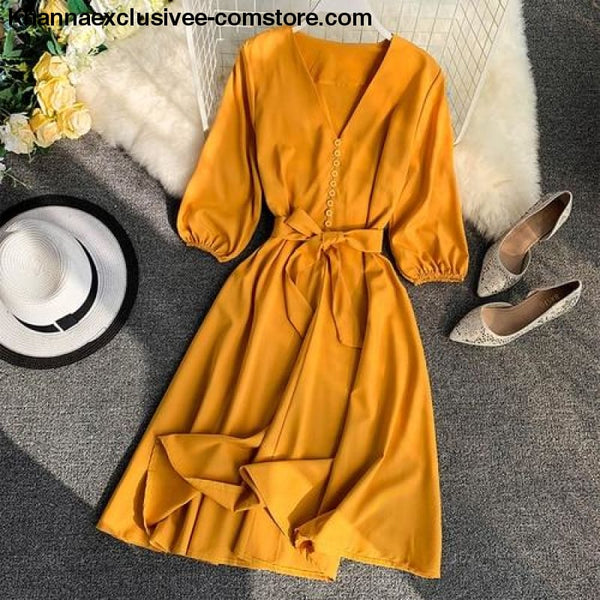 New Womens Fashionable V Collar Half Sleeve Single Breasted High Waist Casual Dress - Yellow / One Size - New Womens Fashionable V Collar