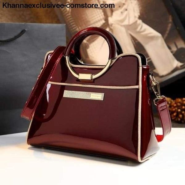 New womens luxury high quality designer leather wedding Boston Style Purse Hand Shoulder bag - Burgundy / (30cm<Max Length<50cm) - New