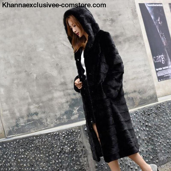 New Womens Luxury Long Customize Plus Size Genuine Rabbit Real Fur Warm Coat Jacket - New Winter Womens Luxury Long Customize Plus Size