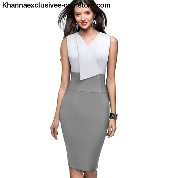 Nice-Forever Elegant Womens Wear Patchwork Summer Business Vintage Ruffle Office Dress - Gray / L - Nice-Forever Elegant Womens Wear
