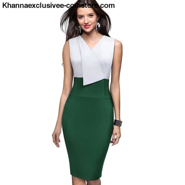 Nice-Forever Elegant Womens Wear Patchwork Summer Business Vintage Ruffle Office Dress - Green / L - Nice-Forever Elegant Womens Wear