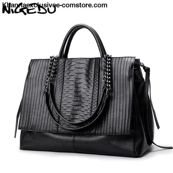 NIGEDU Branded designer Ladies luxury crocodile leather handbag Womens Chain shoulder bag Purse - Branded designer Ladies luxury crocodile