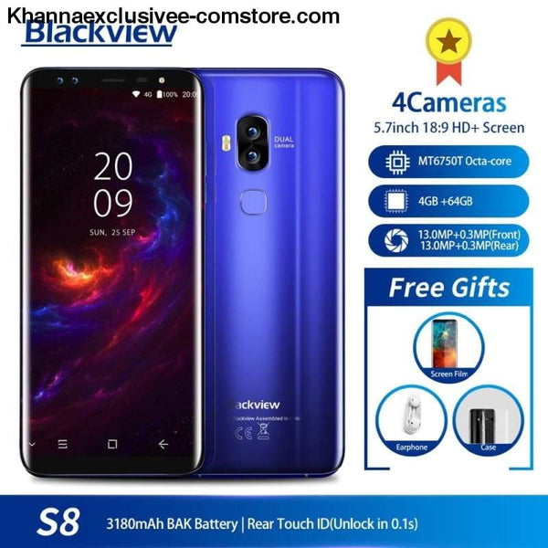 Original Blackview S8 5.7 18:9 HD Octa Core 4GB + 64GB ROM Dual SIM Fingerprint 4 Cameras Mobile Phone - Original Blackview S8 5.7 18:9 HD