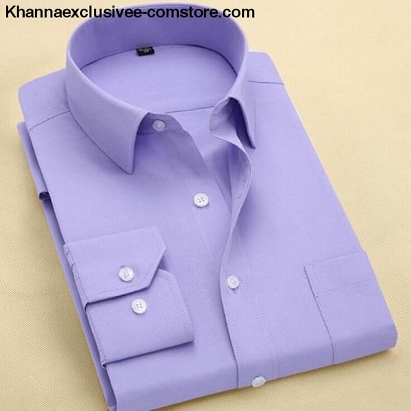 Pure Color Mens Dress Shirts Long Sleeve Slim Fit Fashion Business Normal Plus Size 4XL Shirt - 15113 / Asian 3XL Label 43 - Pure Color Mens