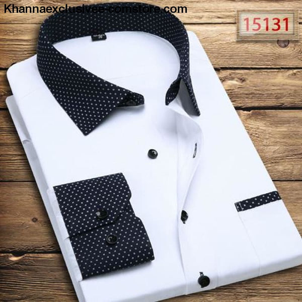 Pure Color Mens Dress Shirts Long Sleeve Slim Fit Fashion Business Normal Plus Size 4XL Shirt - 15131 / Asian 3XL Label 43 - Pure Color Mens