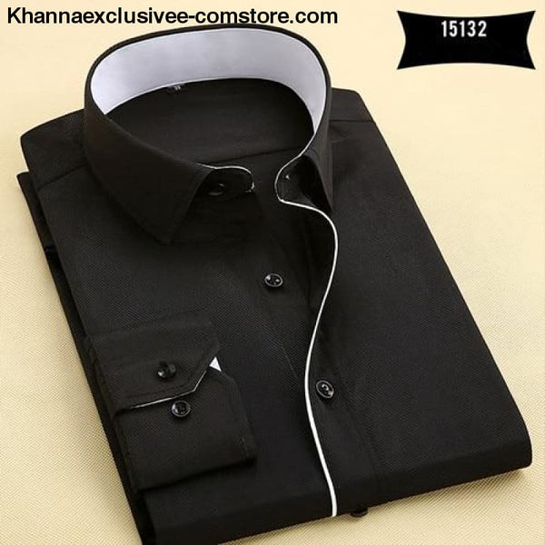 Pure Color Mens Dress Shirts Long Sleeve Slim Fit Fashion Business Normal Plus Size 4XL Shirt - 15132 / Asian 3XL Label 43 - Pure Color Mens