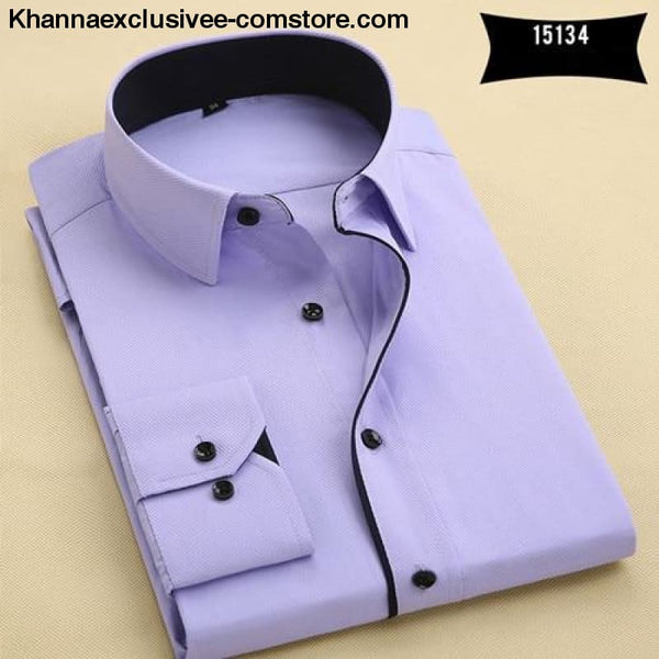 Pure Color Mens Dress Shirts Long Sleeve Slim Fit Fashion Business Normal Plus Size 4XL Shirt - 15134 / Asian 3XL Label 43 - Pure Color Mens