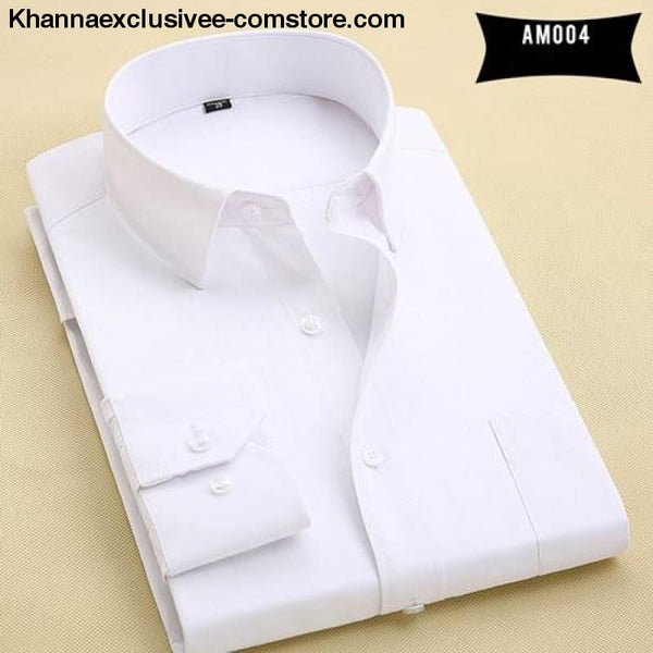 Pure Color Mens Dress Shirts Long Sleeve Slim Fit Fashion Business Normal Plus Size 4XL Shirt - AM004 / Asian 3XL Label 43 - Pure Color Mens