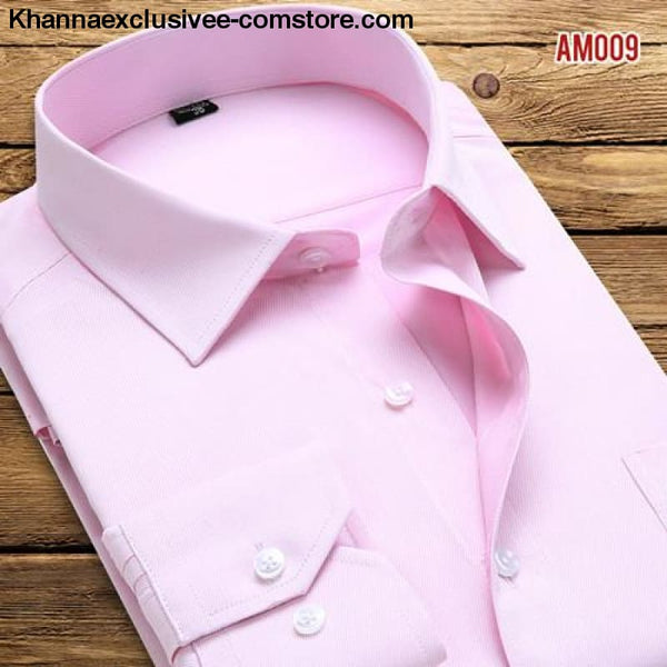 Pure Color Mens Dress Shirts Long Sleeve Slim Fit Fashion Business Normal Plus Size 4XL Shirt - AM009 / Asian 3XL Label 43 - Pure Color Mens