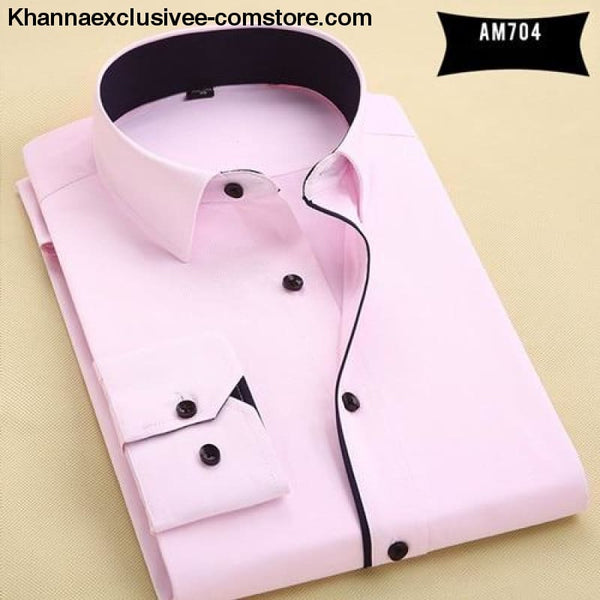 Pure Color Mens Dress Shirts Long Sleeve Slim Fit Fashion Business Normal Plus Size 4XL Shirt - AM704 / Asian 3XL Label 43 - Pure Color Mens