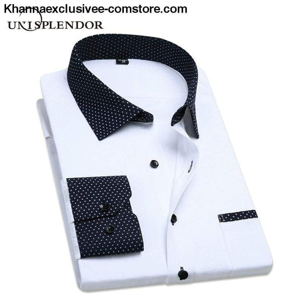 Pure Color Mens Dress Shirts Long Sleeve Slim Fit Fashion Business Normal Plus Size 4XL Shirt - Pure Color Mens Dress Shirts Long Sleeve