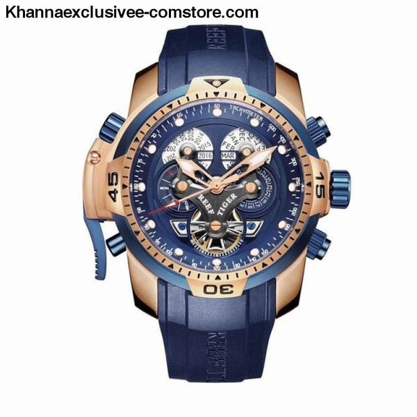 Reef Tiger Sports Mens Big Dial Perpetual Calendar Steel Mechanical Blue Rubber Strap Watch - RGA3503PLLB - Reef Tiger Sports Mens Watch