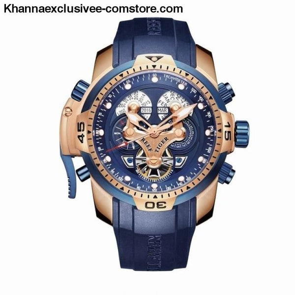 Reef Tiger Sports Mens Big Dial Perpetual Calendar Steel Mechanical Blue Rubber Strap Watch - RGA3503PLLG - Reef Tiger Sports Mens Watch
