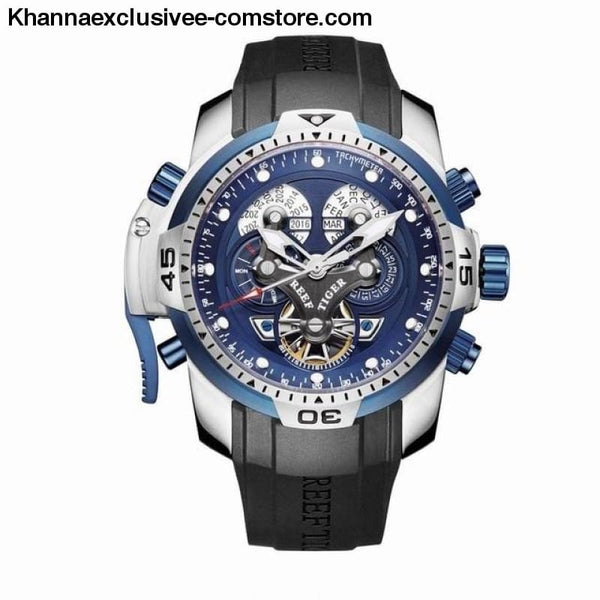 Reef Tiger Sports Mens Big Dial Perpetual Calendar Steel Mechanical Blue Rubber Strap Watch - RGA3503YLBB - Reef Tiger Sports Mens Watch