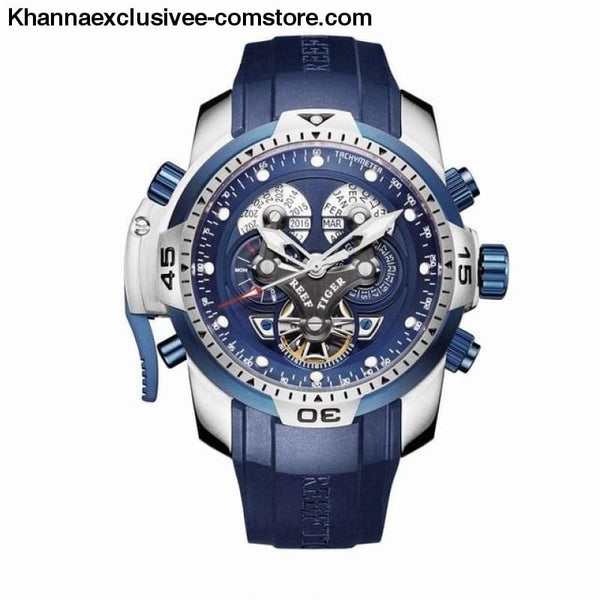 Reef Tiger Sports Mens Big Dial Perpetual Calendar Steel Mechanical Blue Rubber Strap Watch - RGA3503YLLB - Reef Tiger Sports Mens Watch