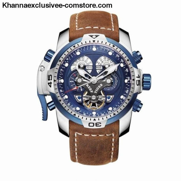 Reef Tiger Sports Mens Big Dial Perpetual Calendar Steel Mechanical Blue Rubber Strap Watch - RGA3503YLSB - Reef Tiger Sports Mens Watch