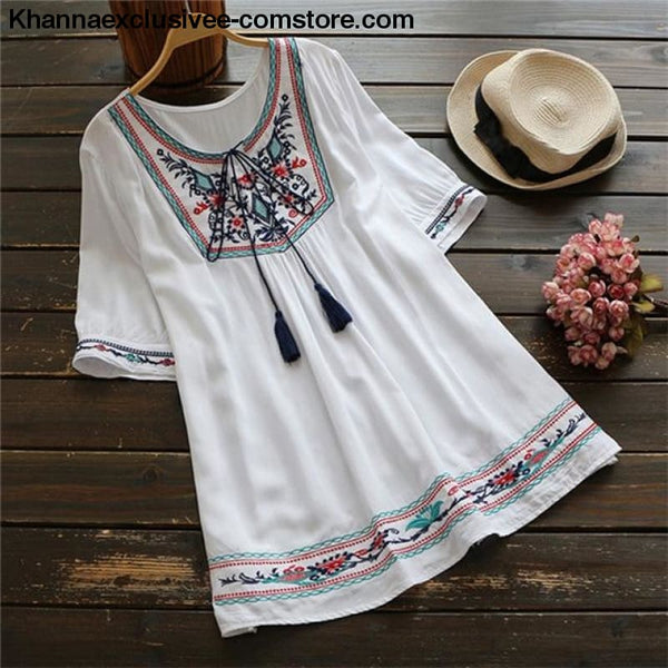 Summer Ethnic Boho Embroidery Womens Short Sleeve Casual Blouse Plus Size Top - Summer Ethnic Boho Embroidery Womens Short Sleeve Casual
