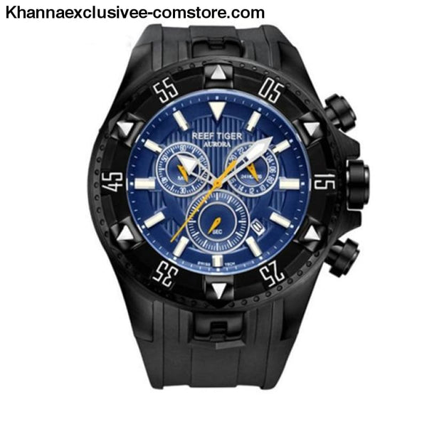 Top luxury Brand Reef Tiger Sports Mens Chronograph Date Waterproof Quartz Wrist Watch - black blue - Top luxury Brand Reef Tiger Sports