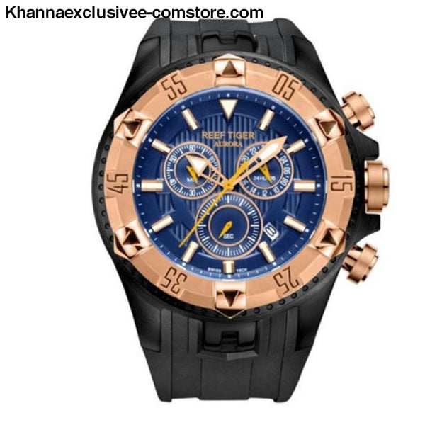 Top luxury Brand Reef Tiger Sports Mens Chronograph Date Waterproof Quartz Wrist Watch - black rose gold - Top luxury Brand Reef Tiger