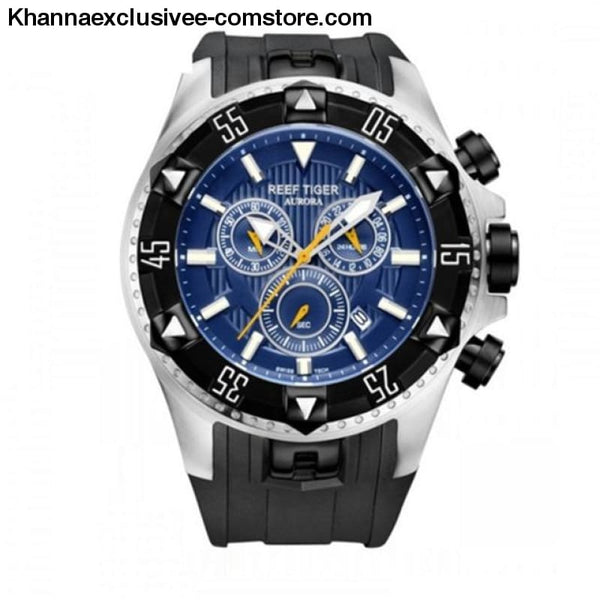 Top luxury Brand Reef Tiger Sports Mens Chronograph Date Waterproof Quartz Wrist Watch - black silver blue - Top luxury Brand Reef Tiger