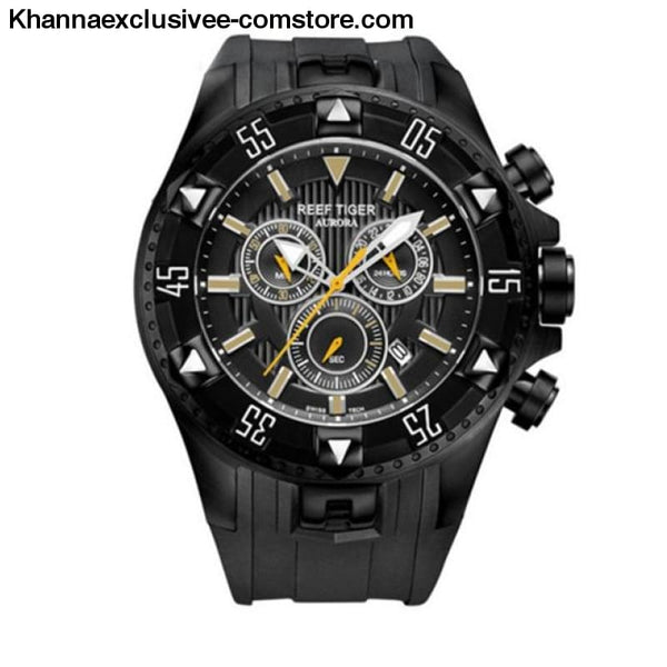 Top luxury Brand Reef Tiger Sports Mens Chronograph Date Waterproof Quartz Wrist Watch - black yellow - Top luxury Brand Reef Tiger Sports