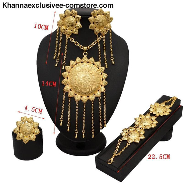 Womens 18K gold Plated jewelry sets bridal set African big jewelry gold plated jewelry set - Womens gold jewelry sets bridal jewelry set