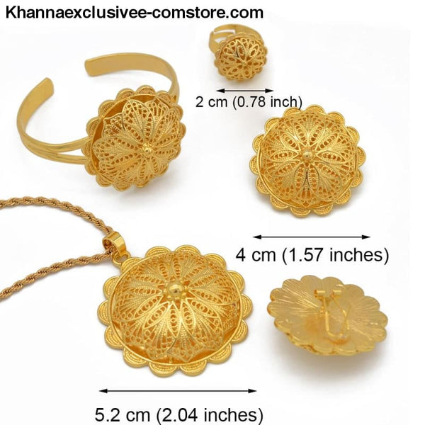 Womens African Jewelry Pendant Necklace Earrings Ring Bangles 18K Gold plated Wedding Set - Womens Eritrean and Ethiopian Jewelry Pendant