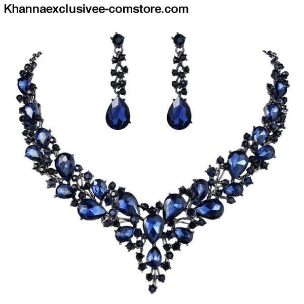Womens Cluster Flower Bridal Jewelry Set Austrian Crystal Wedding Necklace Earrings Set Party Collier - Blue Black Tone / China - Womens