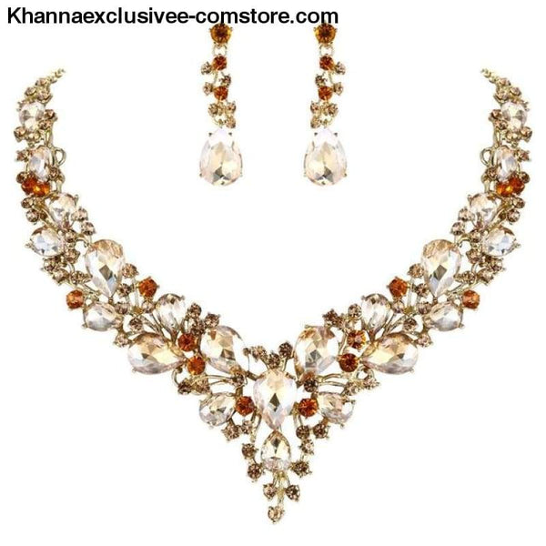 Womens Cluster Flower Bridal Jewelry Set Austrian Crystal Wedding Necklace Earrings Set Party Collier - Brown Gold / China - Womens Cluster