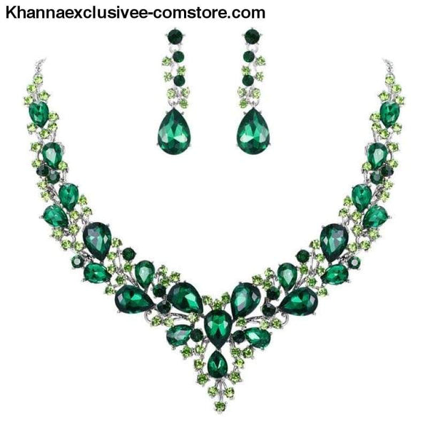 Womens Cluster Flower Bridal Jewelry Set Austrian Crystal Wedding Necklace Earrings Set Party Collier - Green Silver / China - Womens