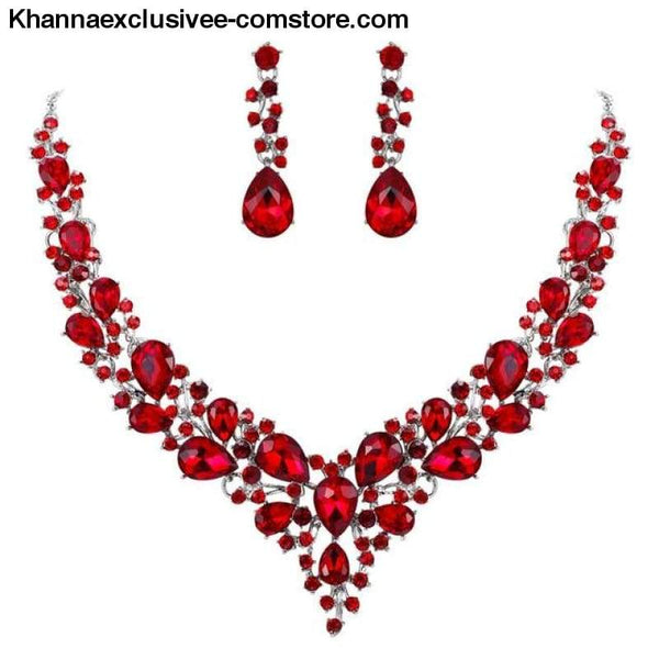 Womens Cluster Flower Bridal Jewelry Set Austrian Crystal Wedding Necklace Earrings Set Party Collier - Red Silver / China - Womens Cluster