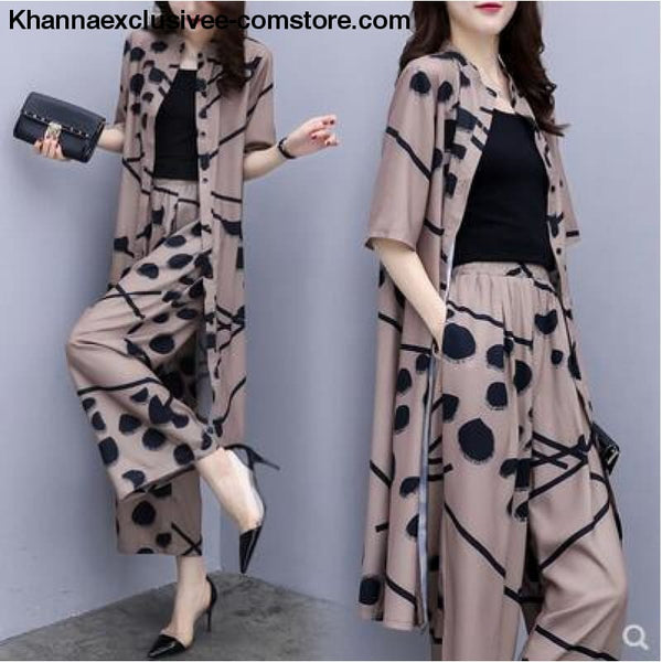 Womens fashion 2 Piece Set Elegant Chiffon Long Cardigan Print Blouse And Wide Leg Pant Sets - brown / M - Womens fashion 2 Piece Set Long